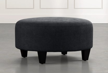 perch black fabric medium round ottoman