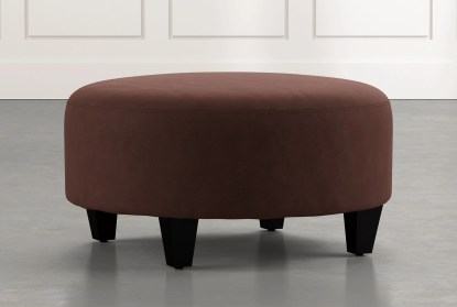 perch brown fabric medium round ottoman