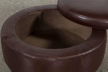 perch leather small round storage ottoman