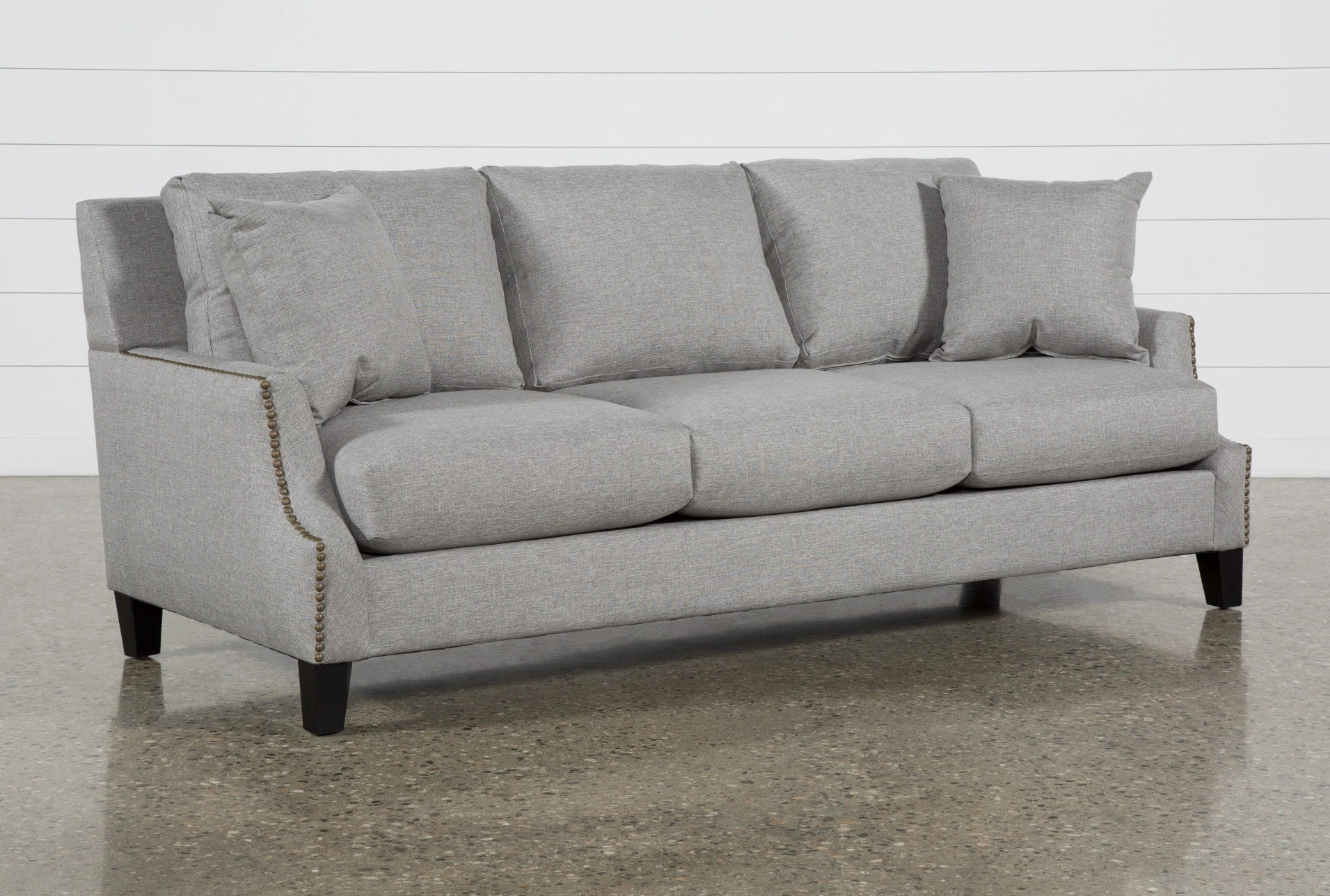 grey fabric sofa next bunk beds with sofas couches free assembly delivery living kayla