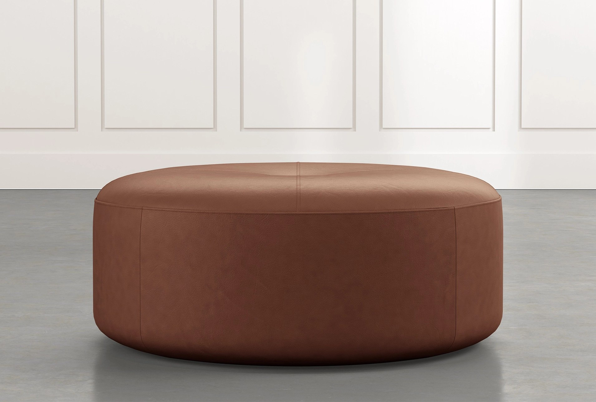 elm ii dark brown round leather ottoman