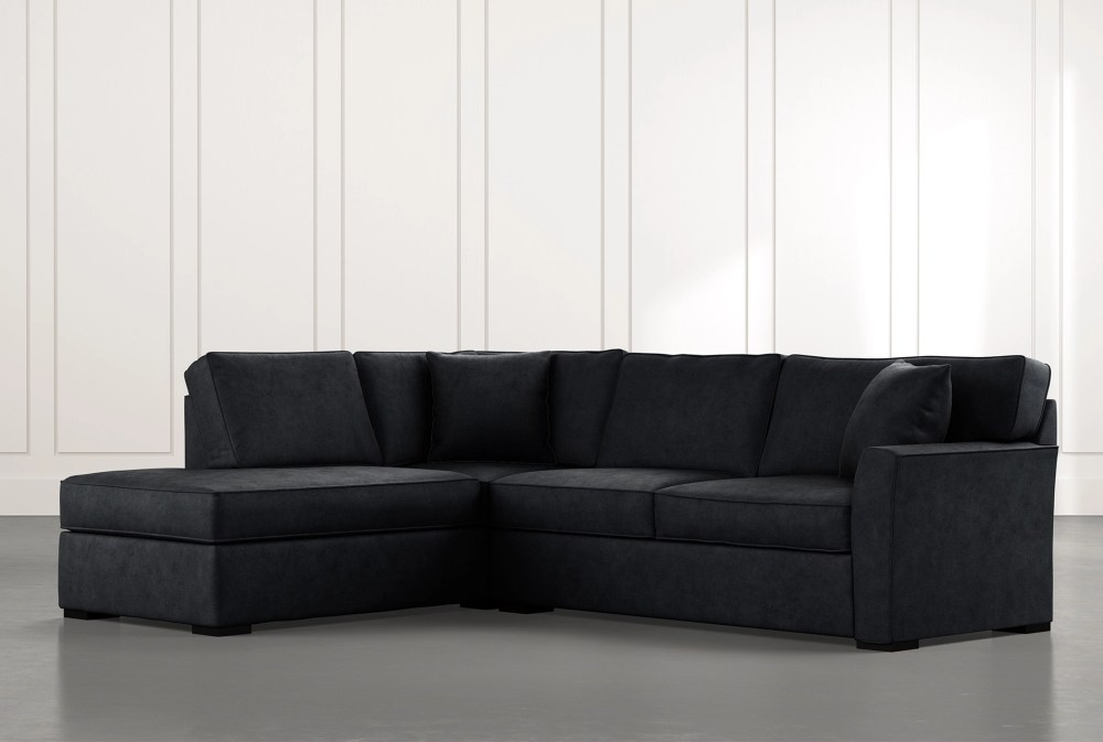 aspen black 2 piece sleeper sectional with left arm facing chaise