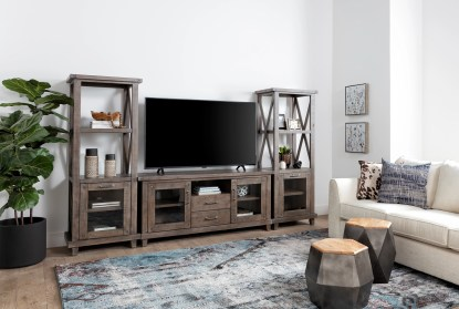 Jaxon Grey 3 Piece Entertainment Center With 65 Inch Tv Stand Living Spaces