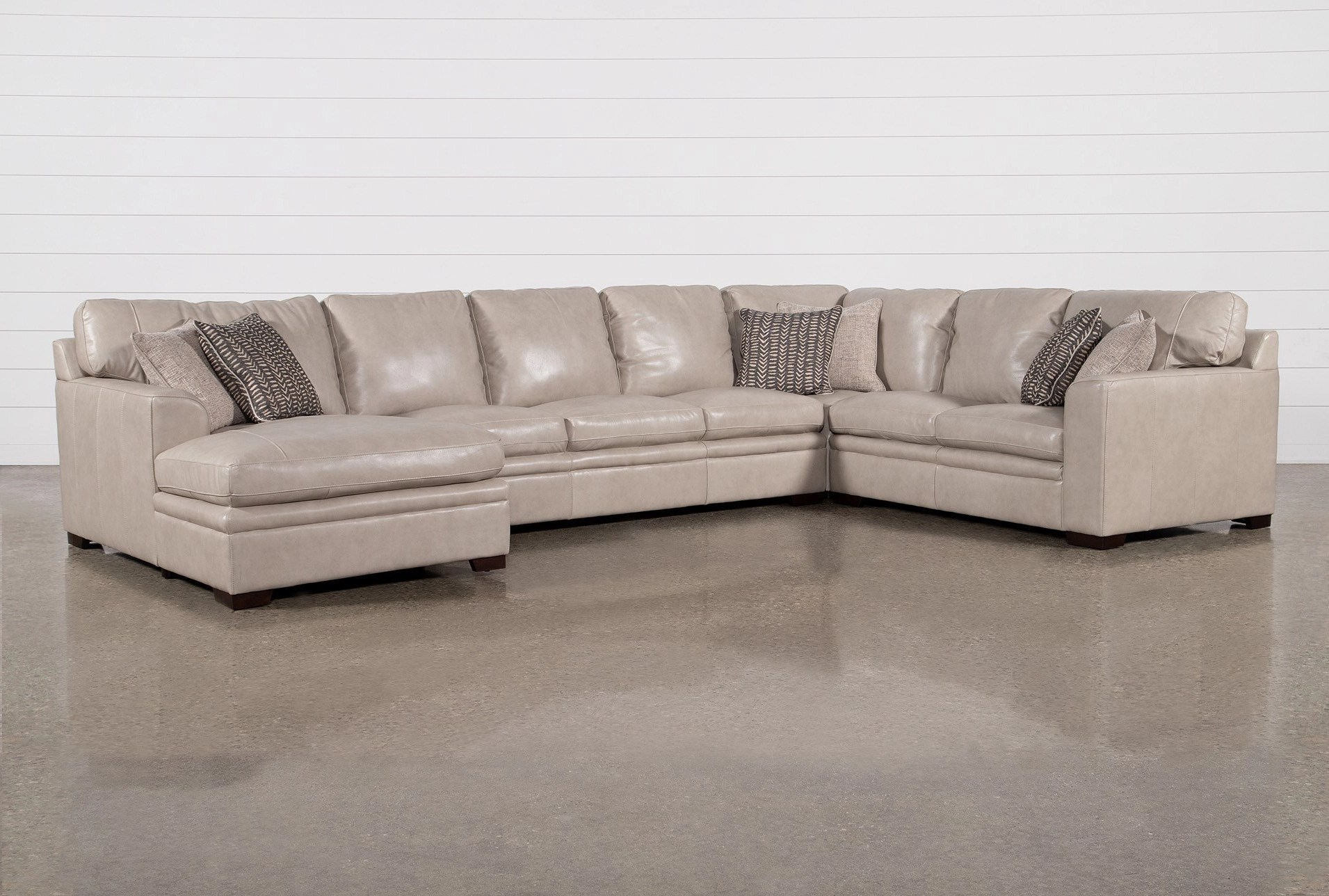 greer stone leather 4 piece 171 sectional with left arm facing chaise armless sofa