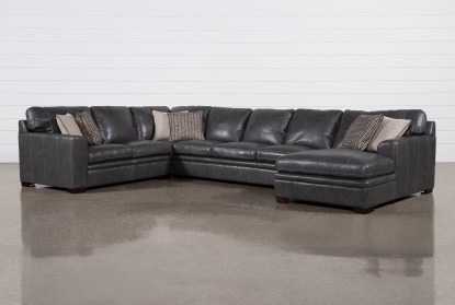 greer dark grey leather 4 piece 171 sectional with right arm facing chaise armless sofa