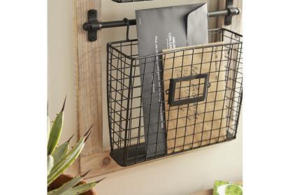 black 36 inch wood metal wall rack