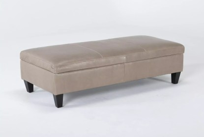 perch ii leather large rectangle storage ottoman