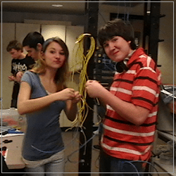 Students working with wires