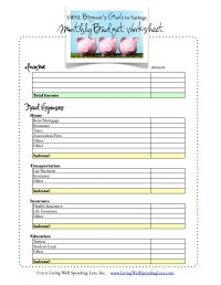 Free Budget Worksheet | Living Well Spending Less