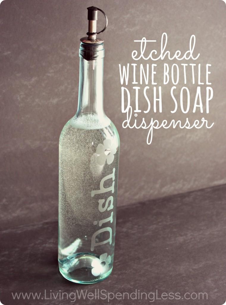 kitchen sink soap dispenser bottle slab cabinets how to make easy diy etched glass | living well spending less®