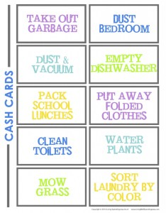 Cash cards are another option for organizing kids chores also create  chore chart that works free charts rh livingwellspendingless