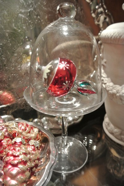 Christmas ornament under a cloche