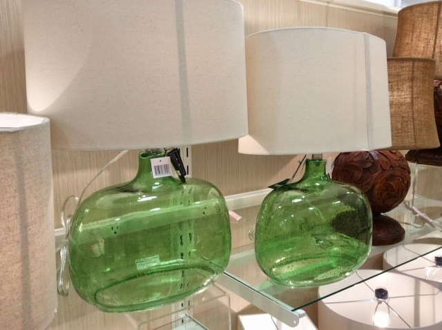 Green oval jar shaped lamps