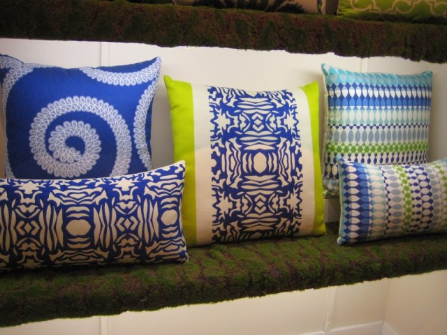 Elaine Smith Outdoor Pillows Blue and Green