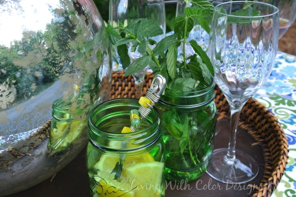 Garden Theme Tablescape: Mercury glass gazing ball Garden Tablescape - Living With Color Designs & The Table Farmhouse and Bakery
