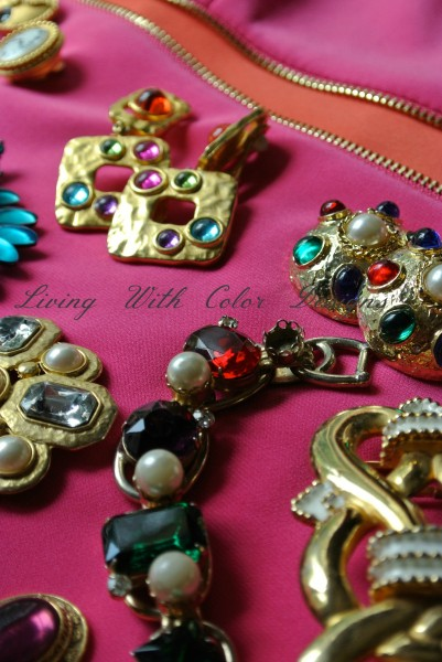 Gold toned and faux jeweled costume jewelry livingwithcolordesigns.com
