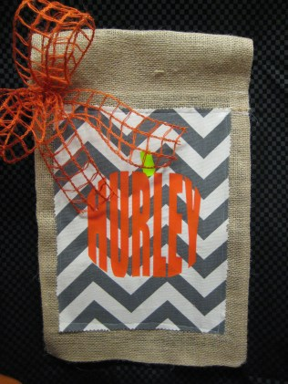 Cheveron yard flag with pumpkin shape monogram by Southern Style- Living With Color Designs