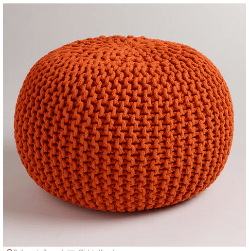 Orange knit pouf