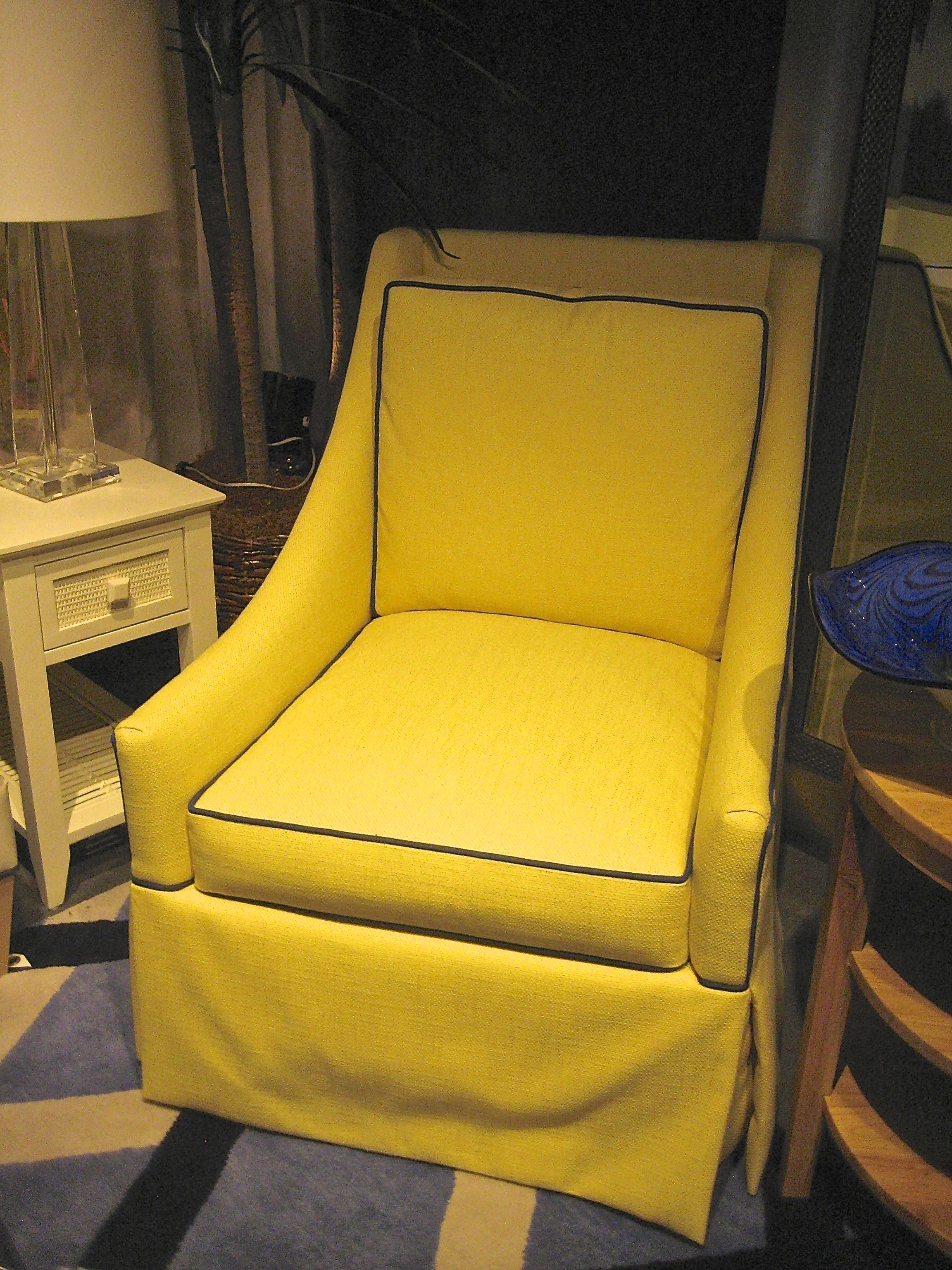 Yellow Upholstered Chair With Contrast Welt  Living With Color Designs Blog