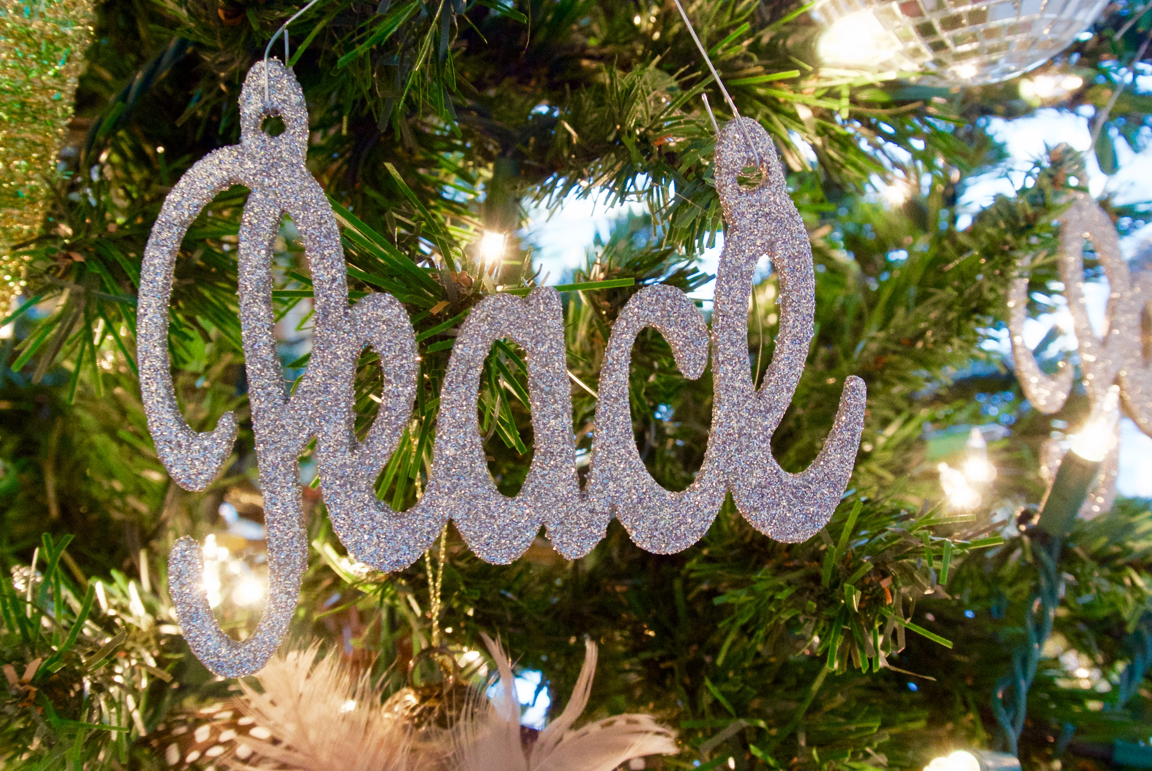 and Joy Themed Christmas Ornaments Peace Word Ornament In Silver