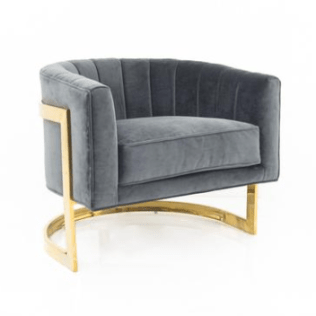 Modshop Ibiza Arm Chair Barrel Back and Brass Accents