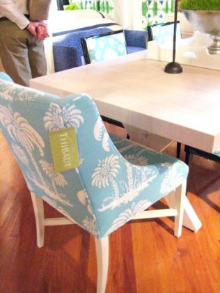 Turquoise Palm Tree fabric on armless dining chair