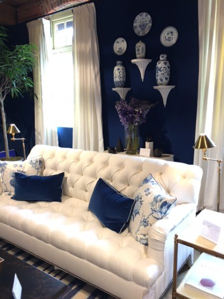 Blue and white interior design by Mark D Sikes