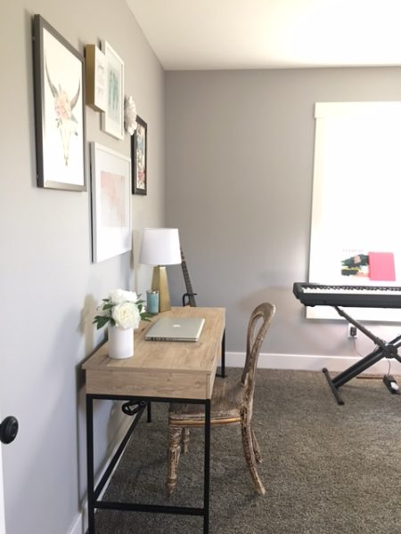 Music room and home office before and after -Blush, Black and Soft Grey Color Palette