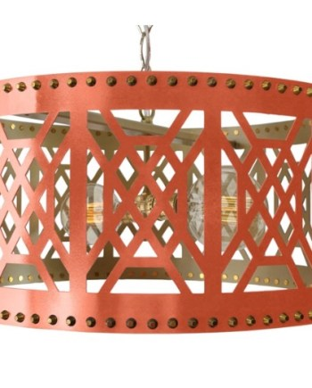 Don't Fret Pendant, Coral- Lazer cut fretwork design lighting from Taylor Burke- AH HOME