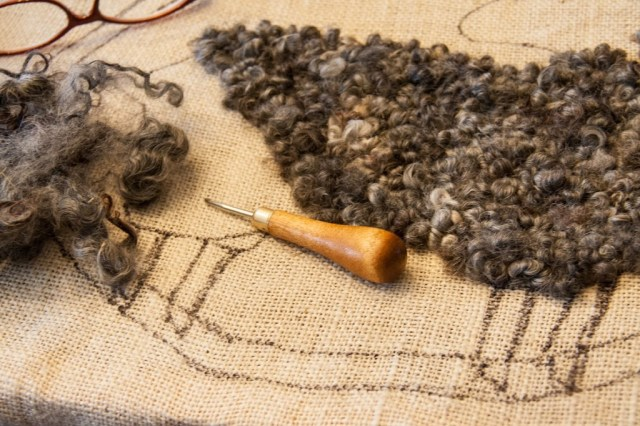 Rug Hooking with Gotland Curls
