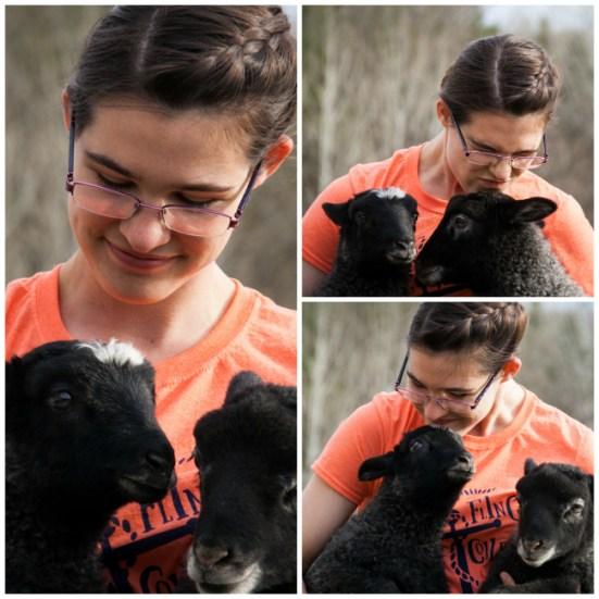 Anna enjoying some lamb time.