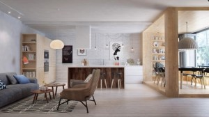 "This goal of the Int2 team in this final St. Petersburg apartment was to maximize open space while giving the occupant dedicated, functional areas for living. This began with inserting a separate but open ""dining room"" in the form of a wooden box, with accordion windows that let in plenty of fresh air and sunlight."