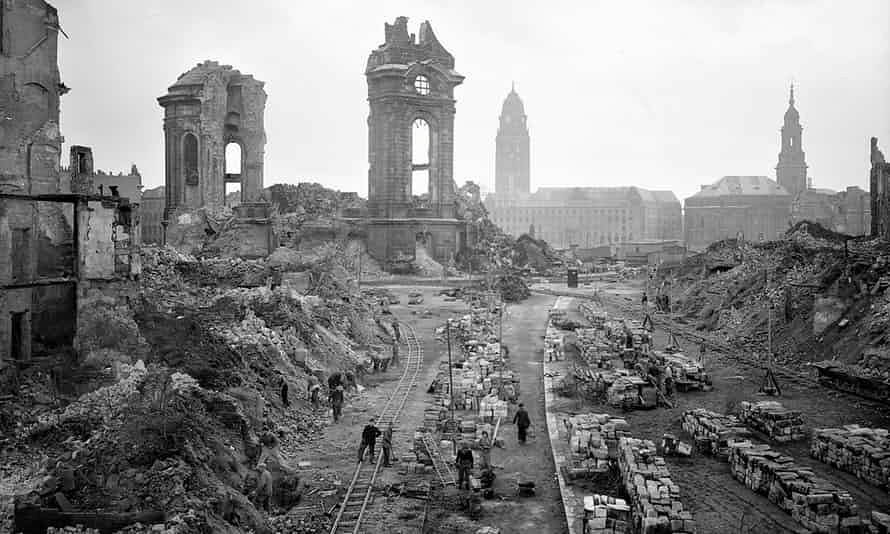 The German City Of Dresden Photographed In 1952 As Workers Remove Bomb Debris Front