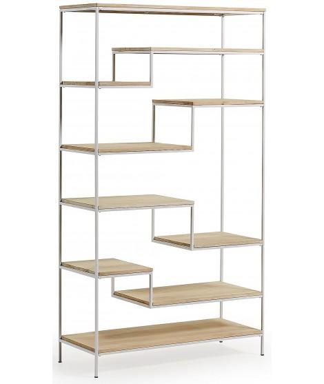 lavin h 180 cm etagere et etageres en metal blanc dans une bibliotheque en bois naturel