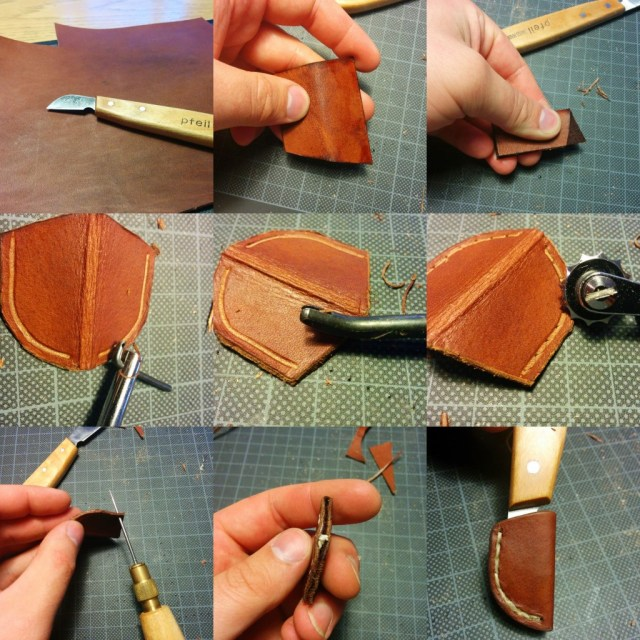 Making a sheath for a Pfeil chip cutting knife. I used lapp leather, which is a type of half-tan leather. It's very rigid, and can be molded to fit when wet.