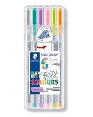 Conjunto  6 marcadores fineliner pastel Triplus 0.3mmSTAEDTLER