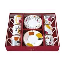 Set 6 chávenas e pratos porcelana Modernism Easy Life