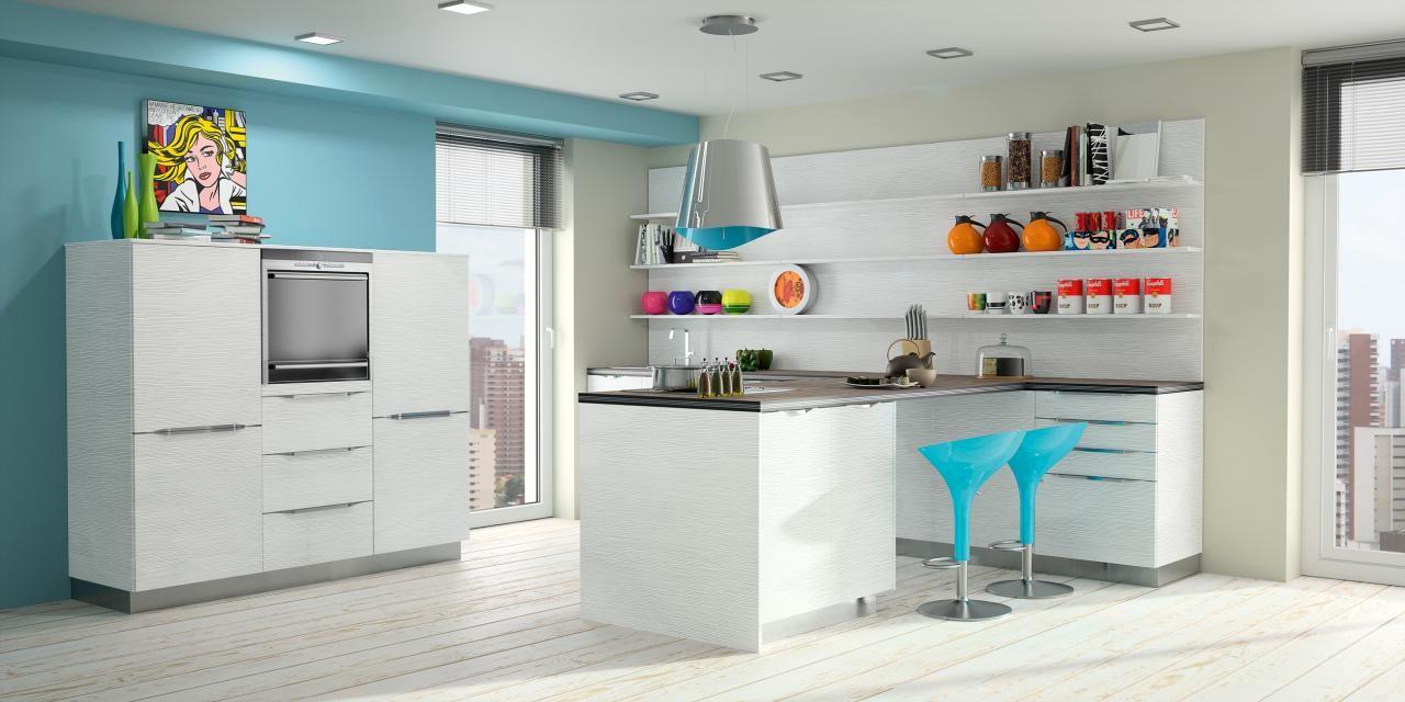 Cuisine Bleue Et Blanche : 1001 + idées de cuisine bleu nuit et à quelle couleur l ... - Ainsi, le coloris bleu est associé au bois blanc artic wood, pour un contraste envoûtant.