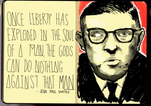 Tegning av Jean-Paul Sartre med sitat.