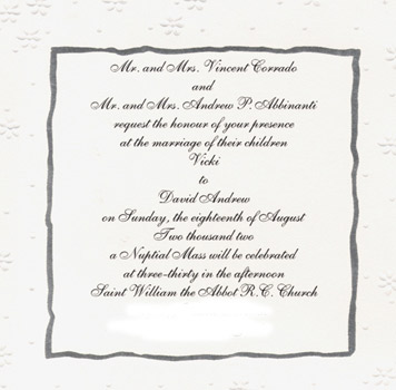 Re Invitation Wording When You Want It To Say Nuptial M Or Sacrament Of Holy Matrimony