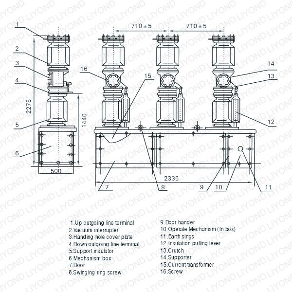 ZW7-40.5KV Series Outdoor H.V. Vacuum Circuit Breaker
