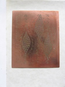 This was my first copper plate etching - made by using hard ground and the Edinburgh Etch solution.