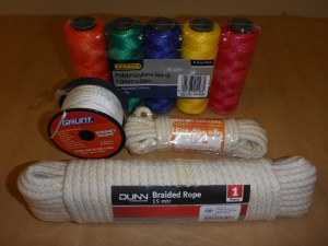 Art supplies from the hardware store - rope, cord and string from Bunnings and BigW to experiment with.