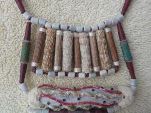 Detail of some of the paper beads made for the Artists Amulet necklace.