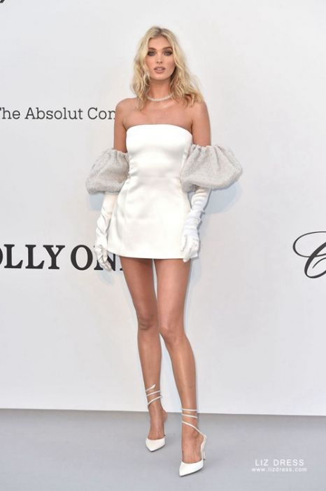 Elsa Hosk Little White Satin Cocktail Dress Amfar Gala Cannes 2019