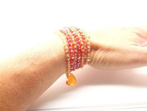 Orange and red Chinese crystals with Swarovski heart