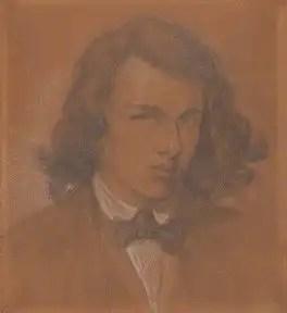 Self Portrait by Dante Gabriel Rossetti, pencil and white chalk on paper, 1847