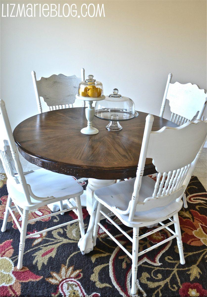 Wood Stain Amp White Kitchen Table Liz Marie Blog