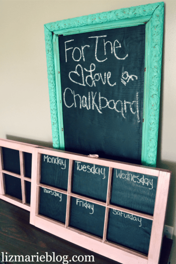 shabby chic windows with chalkboard paint
