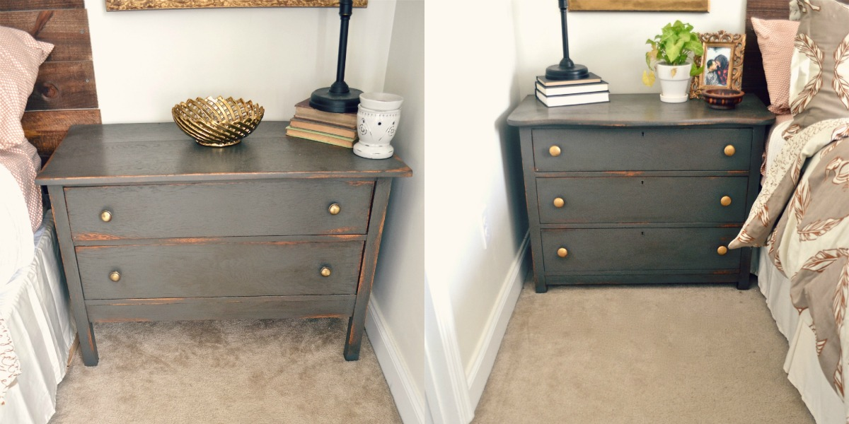 the color i used for these nightstands is urbane bronze by sherwinn williams itu0027s a beautiful warm brown with gray undertones i used annie sloans dark wax